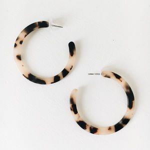 Jewelry - Large Acrylic Tortoise Shell Hoop Earrings